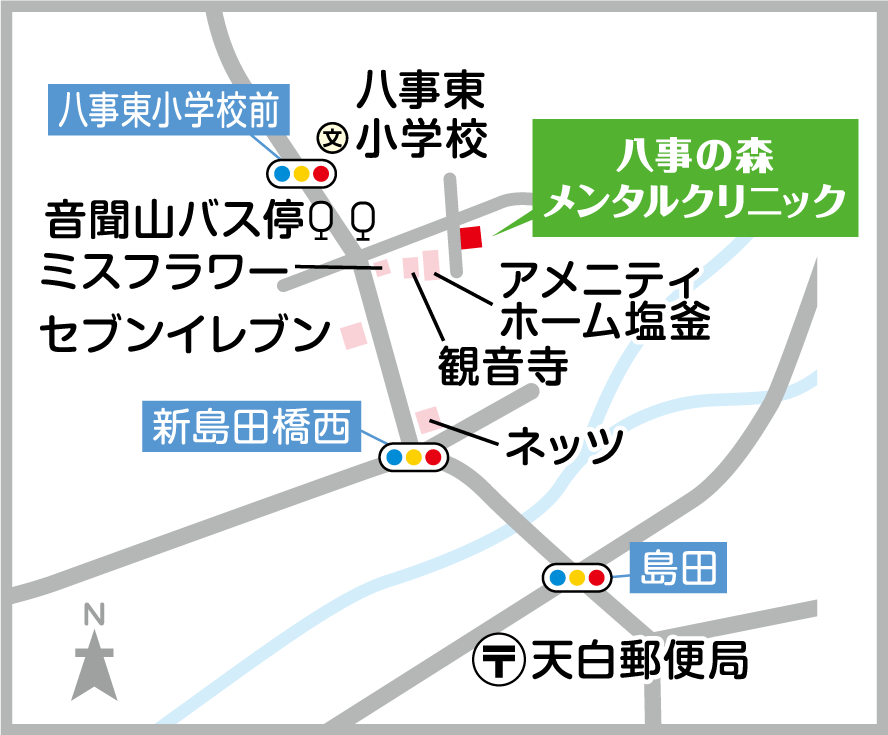 名古屋市天白区八事の森メンタルクリニックの地図のご紹介