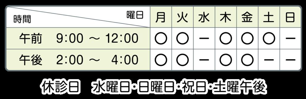 休診日:水曜日、日曜日、祝日、土曜日午後9:00-12:00 14:00-16:00